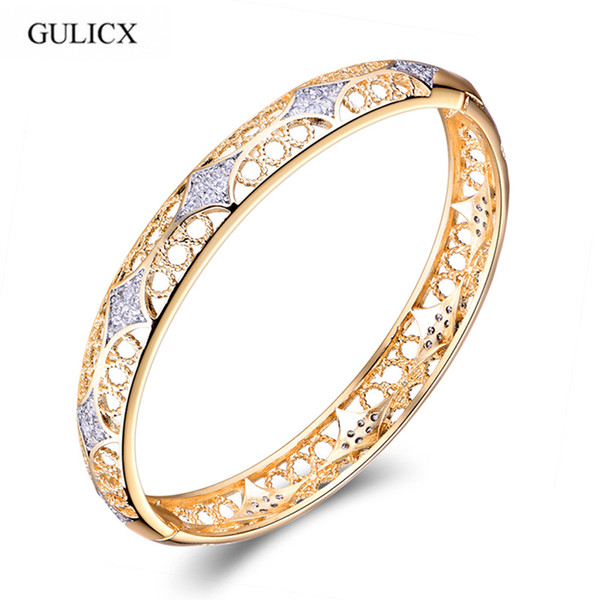 GULICX High Quality Brand Fashion Bangle for Women White and Gold-color Bracelet White Cubic Zirconia Wedding Jewelry Z036 C19010401