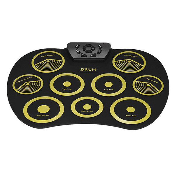 top popular drum Portable Electronic Roll Up Drum Pad Set 9 Silicon Pads Built-In Speakers With Drumsticks Foot Pedals Audio Cable Uk7 Pads Portabl 2021