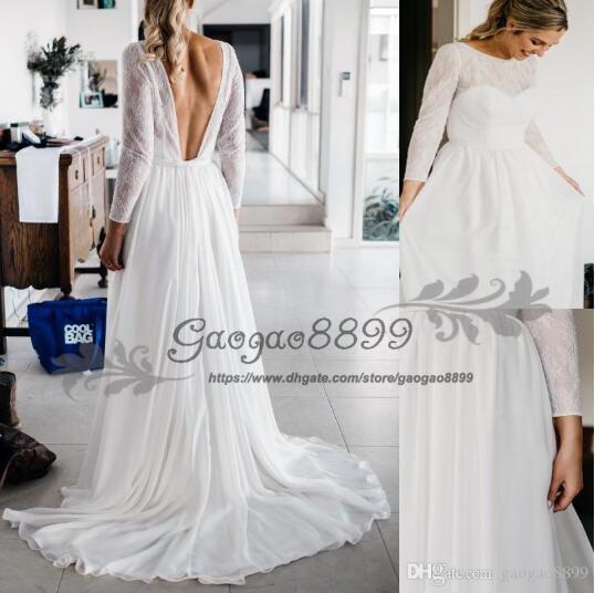 2019 summer Vintage-Inspired Hippie Maxi Lace Bohemian Long Sleeve Wedding Dresses Crochet backless Beach Boho Cheap Wedding Gowns Plus Size