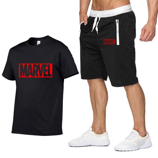 Novo Verão nova Venda dos homens Conjuntos de Camisetas + Calções de Duas Peças Conjuntos Casuais MARCAS de marca MARVEL Tshirt Gyms Fitness Sportswears set