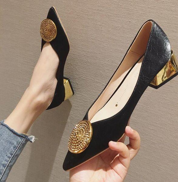 Yapay elmas Toka Sığ ağız Lady prenses ayakkabıları Preppy Stil Parti tıknaz topuk ayakkabı yuvarlak Yeni sezon Tasarımcı Kadınlar aylaklarının lüks