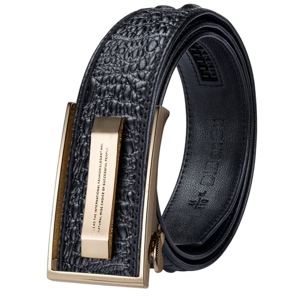 Venta al por mayor Diseñador de cocodrilo Cinturones de cuero genuino de lujo para hombres Casual Jeans Correa Correa Dorada Hebilla automática Cinturón negro PD-2036