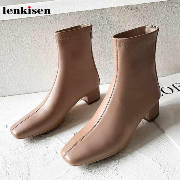 Lenkisen marque chaude en cuir véritable bout carré med talons populaire style simple doux hiver doux garder au chaud femmes bottines L57