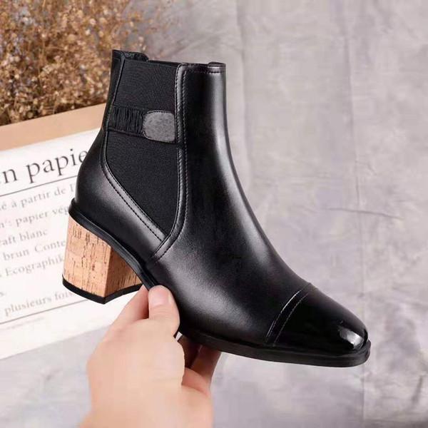 Ankle Boots preto Sapatos de Couro Genuíno Das Mulheres Botas de Outono Inverno 2019 Apontou Toe Sapatos de Luxo Mulheres de Pele De Salto