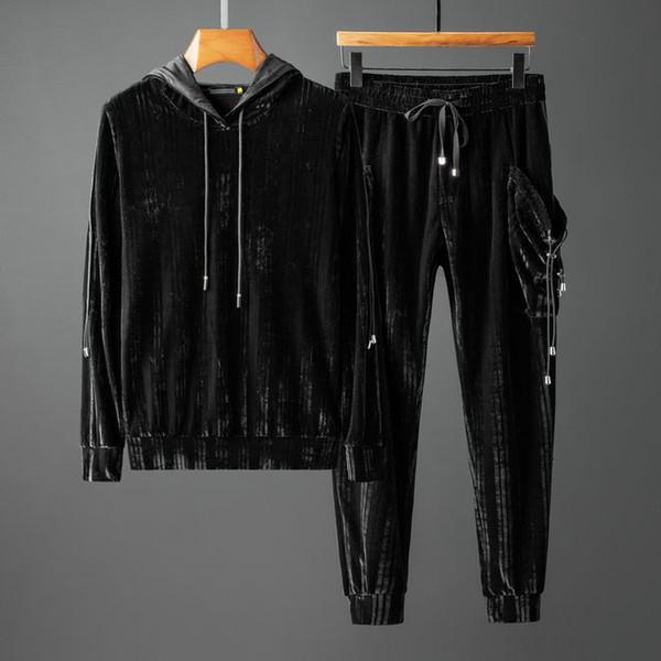 ice55 hommes nouveaux mode sport à capuche et sweat-shirts Jogger d'hiver Noir Automne Sporting Costume Set Survêtements Sweat 9022