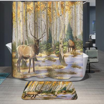 New 5 Designs Waterproof Forest Deer Cartoon Bathroom Accessories Curtain for Living Room Bedroom Windows Luxury Home Decor