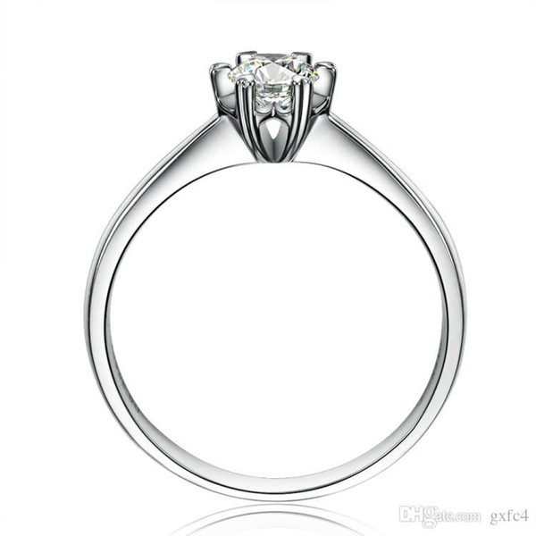 2017 Brand Female Solitaire ring 1.25ct Simulated diamond Cz 925 Sterling Silver Engagement wedding Band ring for women