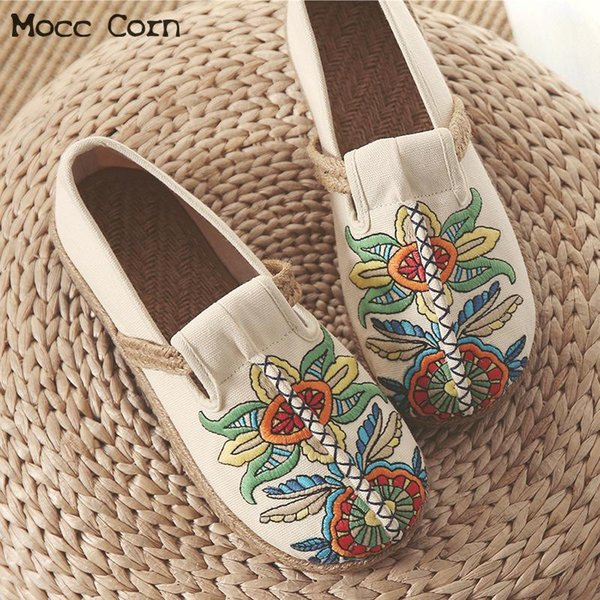 2019 Cloth Shoes Canvas Women Flat Shoes Embroidered Flats Comfortable Slip On Loafers Lady Linen Casual Breathable Footwear