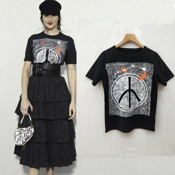 Yeni stil kadın giyim T-shirt Çiçek kuş jakarlı desen yuvarlak boyun buz ipek kavisli ince kısa kollu kazak bayan 2019 yaz tops