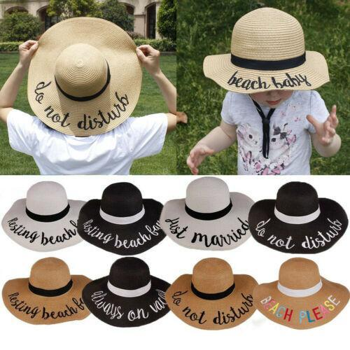 kids summer hat Wide Brim Straw Beach Hats Outdoor Floppy Fold Hats Sun Protection children letter Fisherman hats