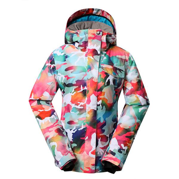 Outdoor genuine lady pink ski suit camouflage waterproof windproof jacket cotton 1410-018 women hiking ski wear