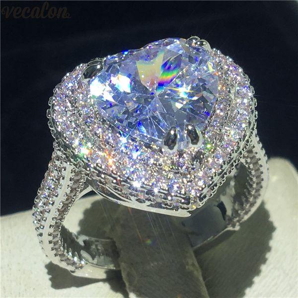 Vecalon Vintage Kalp Promise ring 925 Ayar Gümüş 5A Cz Nişan düğün band yüzükler kadınlar Için Gelin Parmak Takı