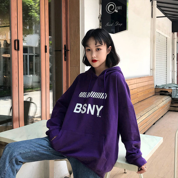 Women Winter Ulzzang Hoodie Sweatshirt Fashion Harajuku Loose Fleece Sweatshirt Tops Korean BF students Hooded Tracksuit Meletom SH190911