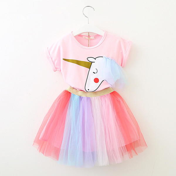 good quality New Girls Kids Baby Skirt Set 2PCS/Set Short Sleeve T-shirt+Tutu Skirt Suit For Summer Princess Skirt Cute Clothing