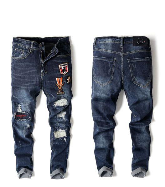 cell phones Brand Designer High Elasticity Men's Locomotive Jeans Euro-American Style Hole Jeans