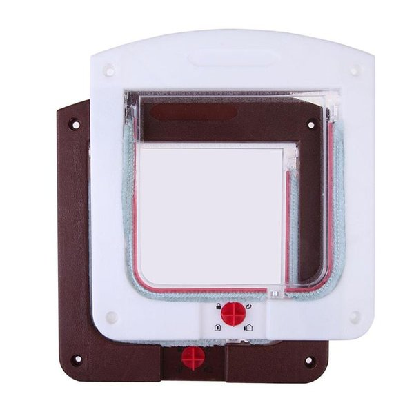 New Dog Cat Pet Door Security Flap Door ABS Plastic Animal Small Pet Cat Dog Gate Supplies