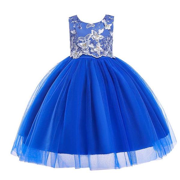 Baby Girl Dress Kids Butterfly Printing Dress Round Collar Sleeveless Flower Back Bow Zipper Princess Dress 32