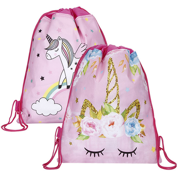 best selling Wholesale Unicorn Drawstring bag for Girls Travel Storage Package Cartoon School Backpacks Children Birthday Party Favors