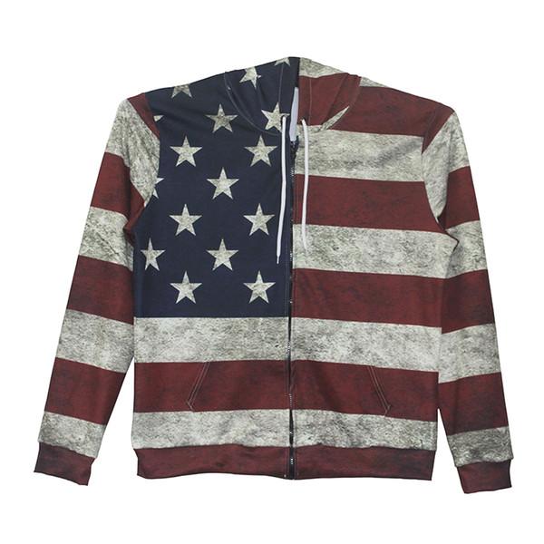 Hombres Sudadera con cremallera Sudadera EE. UU. Bandera 3D Impreso por completo Sudadera con capucha y cremallera Sudaderas con capucha unisex Casual Mangas largas Sudaderas con gráfico (RL0176)