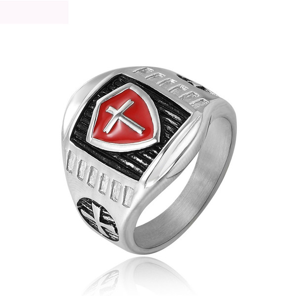 New Crucifix design fashion jewelry rings punk titanium steel knight ring jewel star ring for man free shipping