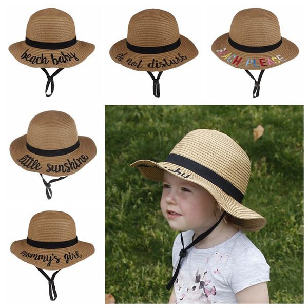 Baby child sun hat baby girl boy straw hats summer new design Shuttle Embroidery letter kids travel beach bucket hats sunscreen cap