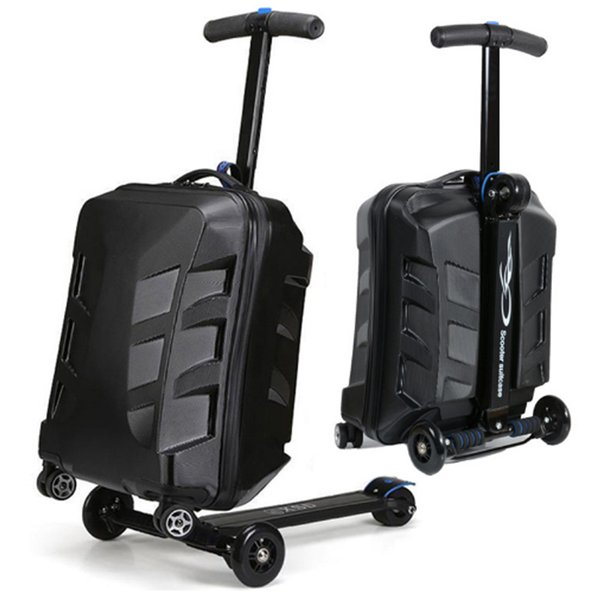 COOL 21 inches fashion boy scooter suitcase men trolley case extrusion students backpack business Travel luggage Boarding box