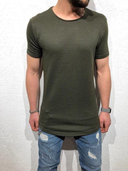 Mens Preto Longo T Shirt Dos Homens Tops Hip Hop Tee Muscle Training Fitness Manga Curta Trecho de Algodão Correndo T-shirt do Esporte
