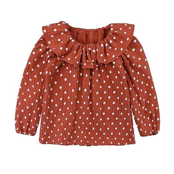 Baby Girl Shirt Kids Designer Clothes Girl Long Sleeve Doll Collar Wave Point Shirt Children Designer Clothes Girls 32