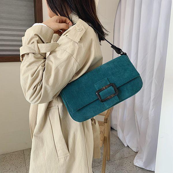 2019 Wild female bag Fashion Corduroy handbags gold Chain bag Small square package Women Cross body bags Wide shoulder bags daka/8