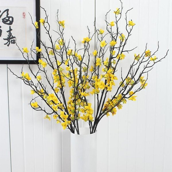 1pcs 90cm Beautiful Artificial Winter Jasmine Plastic Branch with Yellow Flowers Home Decoration Fake Plant Decorative Flower Branch