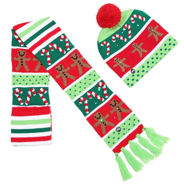 Creatuive New LED Light Beanie Winter Cap Hat Christmas Gingerbread Man Cotton Knitted Hat Wrap Tassel Scarf 2PCS Set high quality