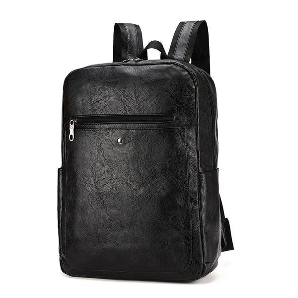 Men Backpack PU Leather Waterproof Backpack Fashion Travel Bag Casual School Bag For Teenagers Laptop Backpack Mochila Brown