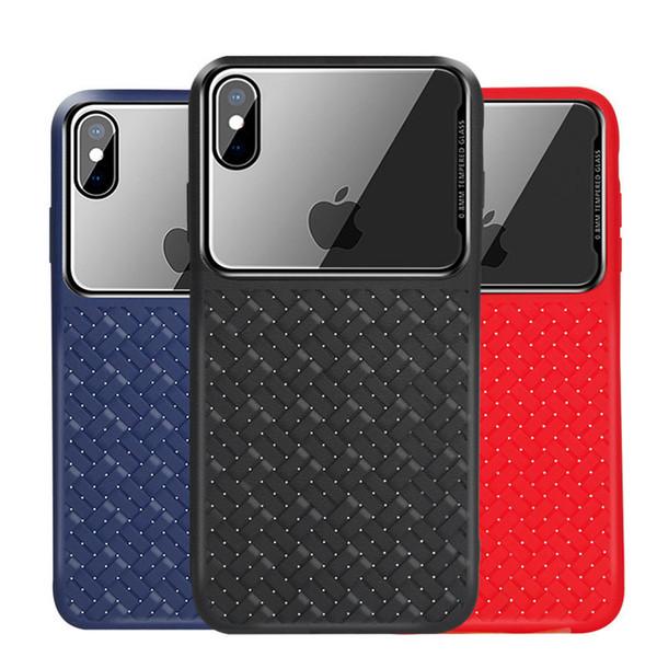 Motif de tissage souple TPU arrière Téléphone Shell Clear Design en verre trempé Flip pour iPhone 7 7PLUS XR X MAX