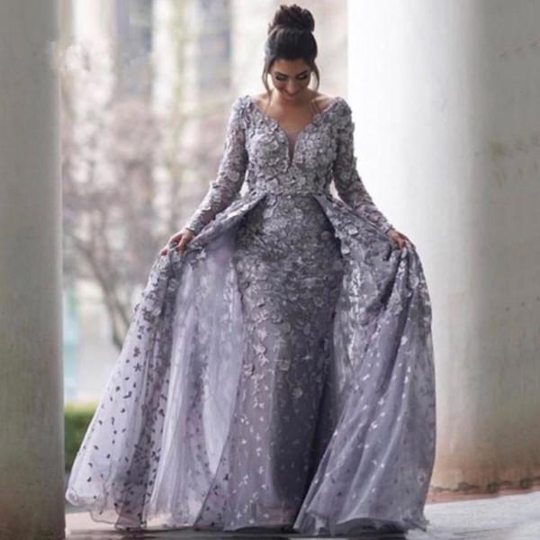 Vestidos de noche de color gris plateado con tren desmontable 2018 Sirena con cuello en V Manga larga Encaje de tul Arabia Saudí Formal sobre falda Vestido de fiesta