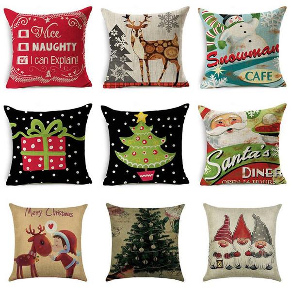 Fodera per cuscino stile fiocco di neve stile fiocco di neve Merry Christmas Santa Claus Home Decorative Pillows Cover 2019