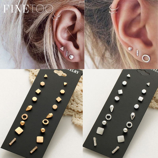Minimalist Mixed Small Earrings Set Simple Geometric Stud Earrings for Women Girls Tiny Ear Studs Pendientes Oorbellen