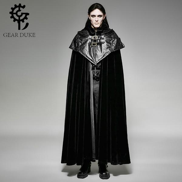 2020 GearDuke Steampunk Men Hoodie Cape Long Cloak Coats Gothic Halloween Dark Vampire Count Bat Cape Loose Thick Velveteen Overcoats From Hongzhang,