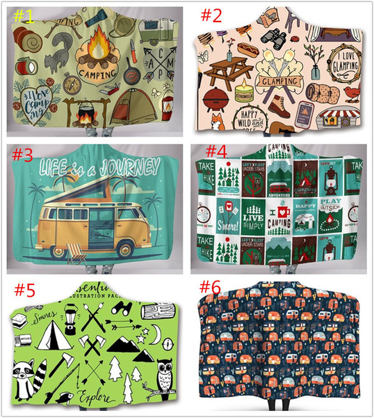 best selling Camper Picnic Hooded Blankets for kids Soft Warm Camping Car Throw Blanket with Hood Soft warm Sherpa Fleece Blankets Wrap for children