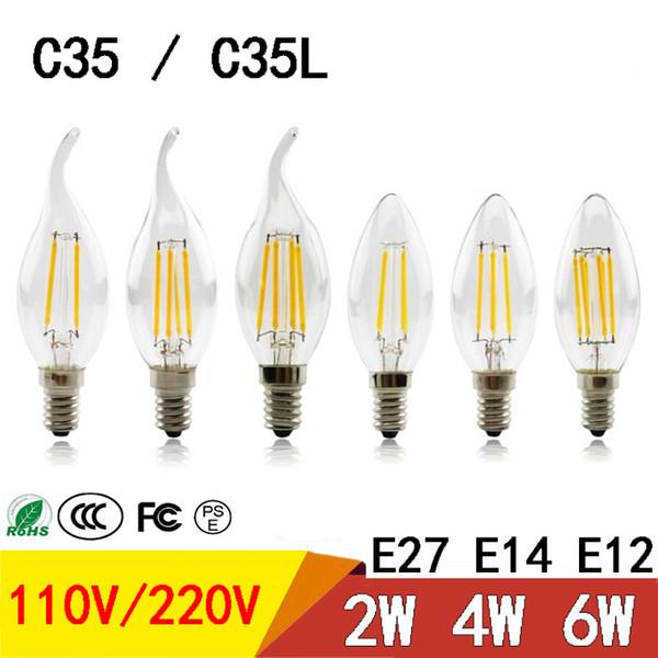 Bombilla de luz LED Vela de filamento E27 E14 E12 2W 4W 6W Bombilla led de ahorro de energía Vidrio brillante brillante C35 C35L luces led