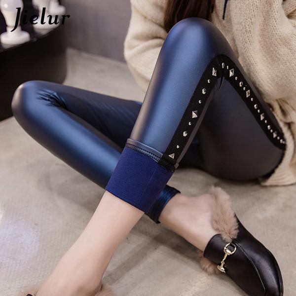Jielur Faux Leather Leggings For Fitness Rivets Patchwork Skinny Pu Pants Plus Size Push Up High Elastic Fleece Leggings Women C19040801