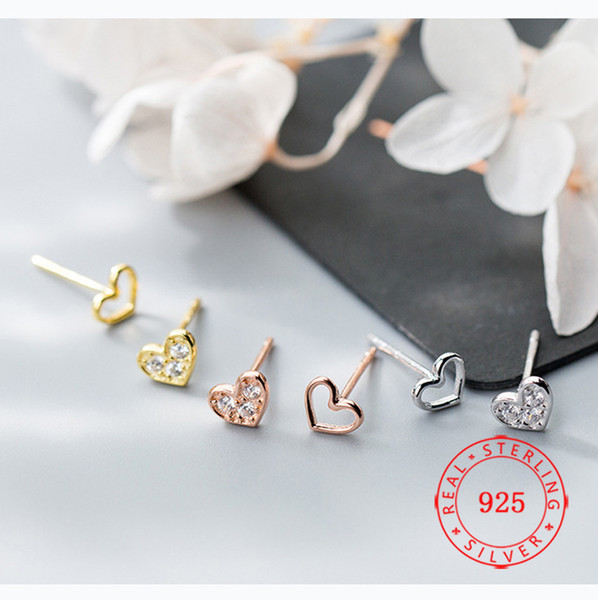 маленький товар новый дизайн оптовые ювелирные изделия сердца стерлингового серебра серег Mini Hollow CZ стержня уха серьги ювелирный завод Гуанчжоу