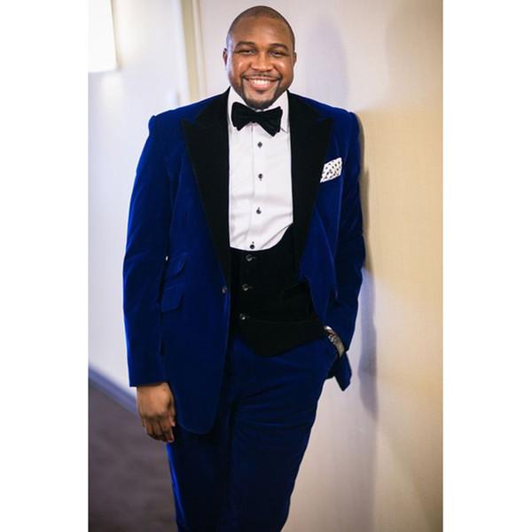 Long Blazer Style Royal Blue Velvet Men Suit Handsome Wedding Tuxedo For Best Man Groom Terno Masculino (Jacket+Pants+Vest)