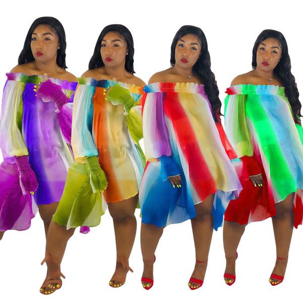 Style bohème nouvelles femmes mousseline Slash Neck robe élastique lanterne manches arc-en-ciel rayures boho robe lâche 3XL plus la taille