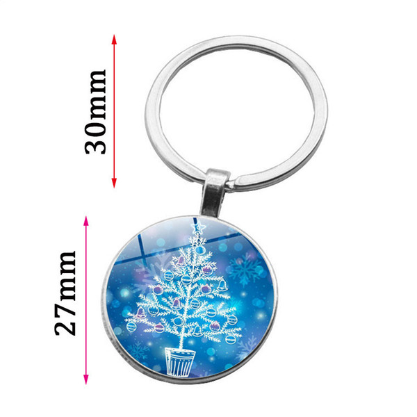 Glass Cabochon Silver Plated Santa Claus Christmas tree Keychain Jewelry Letter Merry Christmas Keychain Ring for Dad Gift