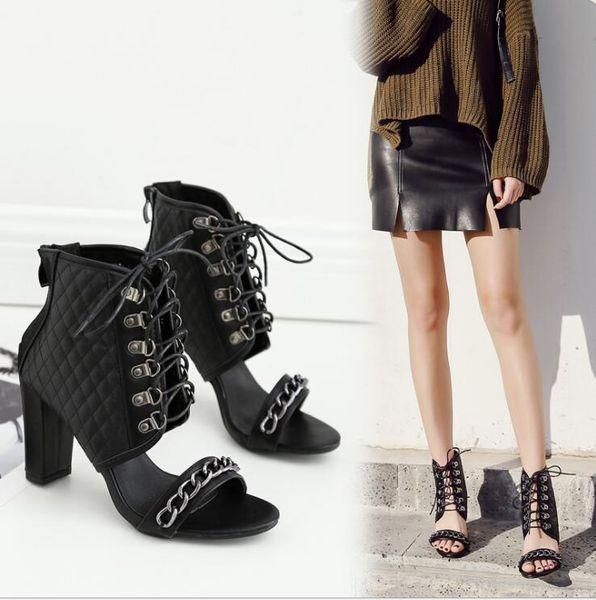 Sexy Frauen High Heels Ankle Roman Stiefel 2019 Chunky Heel Offene Zehen Schnüren Stil Stilvolle Sommersandalen Night Out Party Schuhe