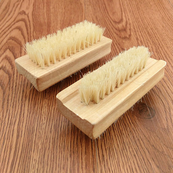best selling Natural Boar Bristle Brush Wooden Nail Brush Foot Clean Brush Body Massage Scrubber Make Up Tools RRA1859