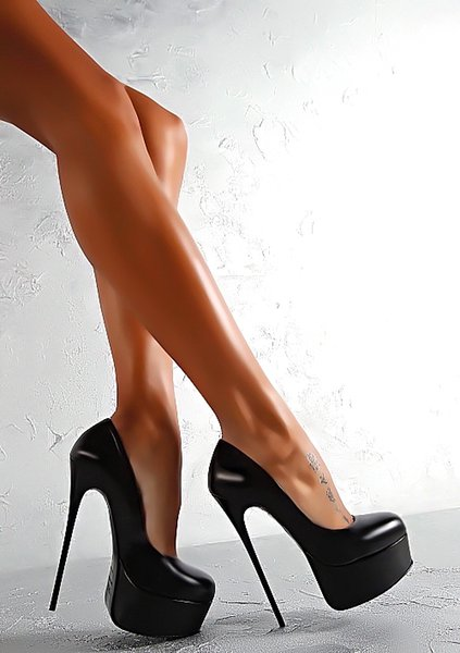 2019 Platform High Heel Shoes for Ladies Summer Style Black Stiletto Heel Shoes Round Toes Designer Dress Shoes for