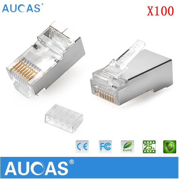 AUCAS 100pcs/lot RJ45 Modular Plug Network Connector For UTP Cat6 Solid Cable Heads 8P8C metal-shielded