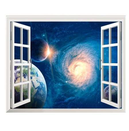 3D Blue Universe Galaxy Планета наклейки на стены для детская комната Спальня Гостиная декоративные наклейки ПВХ стены стикеры