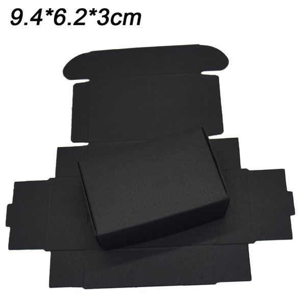 9.4x6.2x3cm Wholesale Black Kraft Paper Gift Decoratiov Box Cosmetic Bottle Package Box Craft Handmade Soap Party Candle Storage Boxes 25Pcs